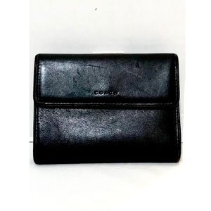 Coach black leather bifold coin purse wallet